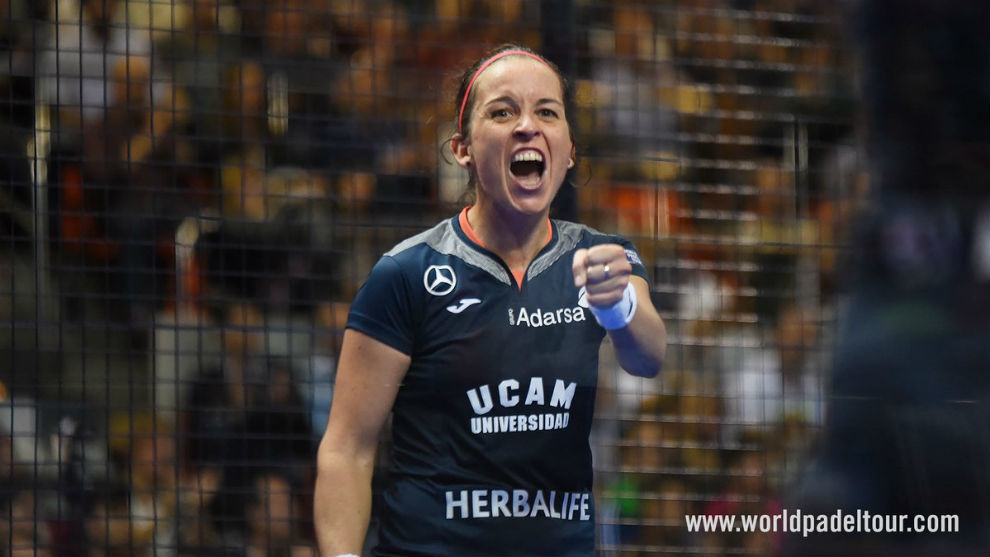 Patricia Llaguno celebra un punto durante las semifinales del Estrella...