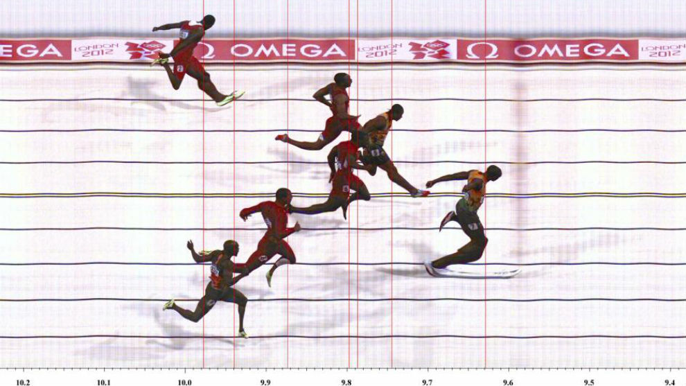 La final de 100 metros de Londres 2012: Bolt (9.63), Blake (9.75),...