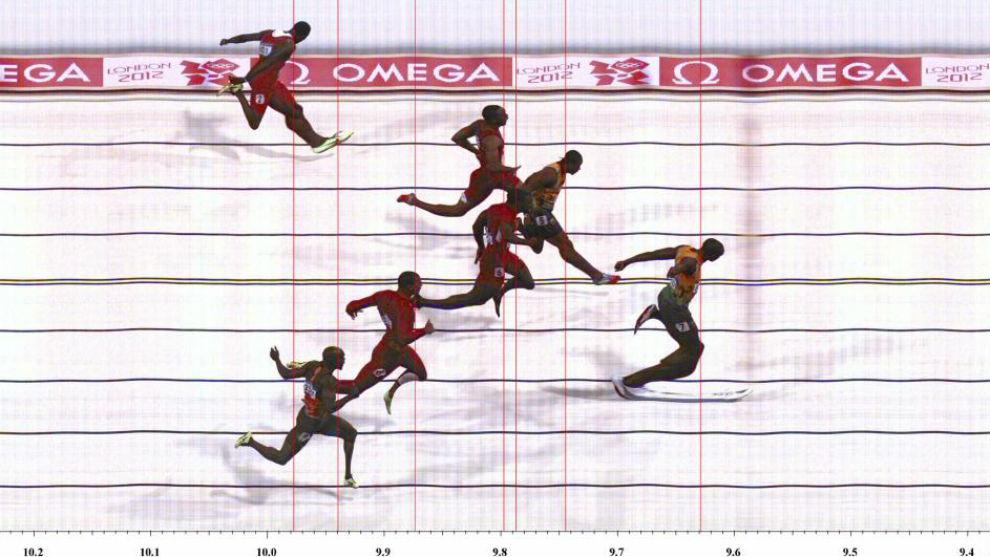La final de 100 metros de Londres 2012: Bolt (9.63), Blake (9.75),...