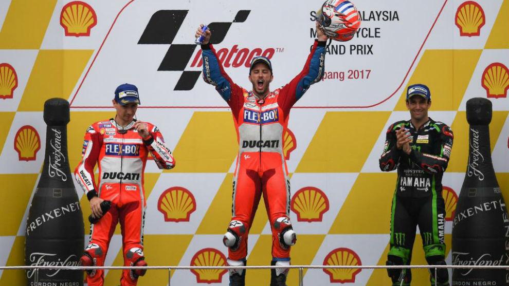 El podio de Sepang con Dovizioso, Lorenzo y Zarco