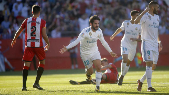 Isco celebra su gol en Girona.