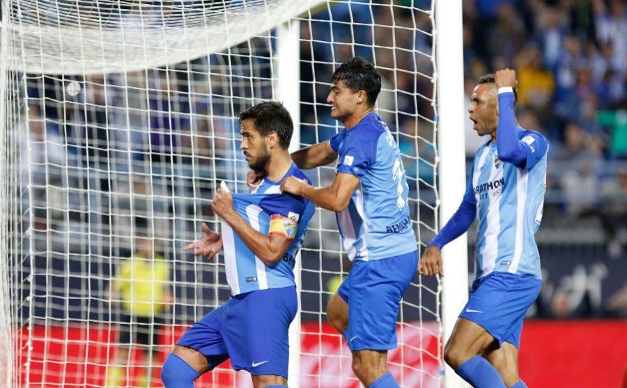 Recio celebrando el tanto de penalti que supuso el 2-1 final