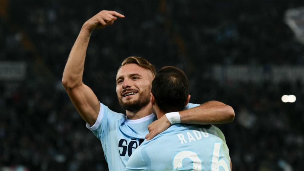 Immobile celebra un gol ante el Cagliari.