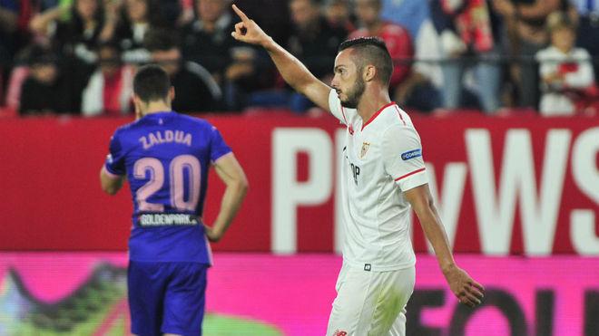 Sarabia le dedica su gol al Leganés a la grada.
