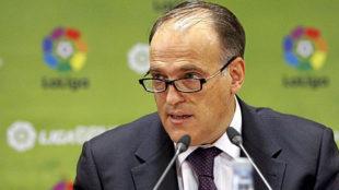 Javier Tebas (55), durante una rueda de prensa