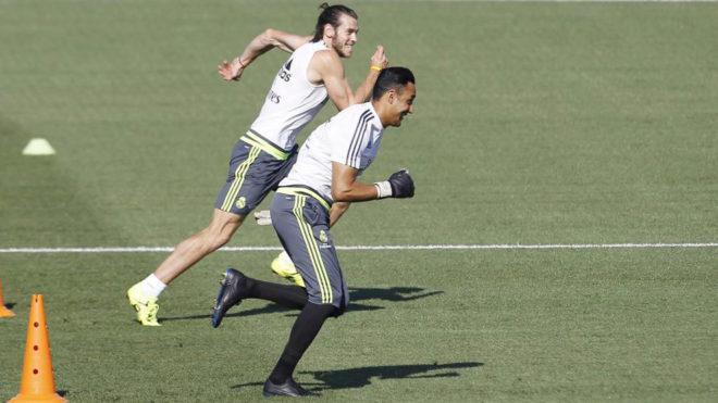Keylor Navas y Bale, durante un entrenamiento