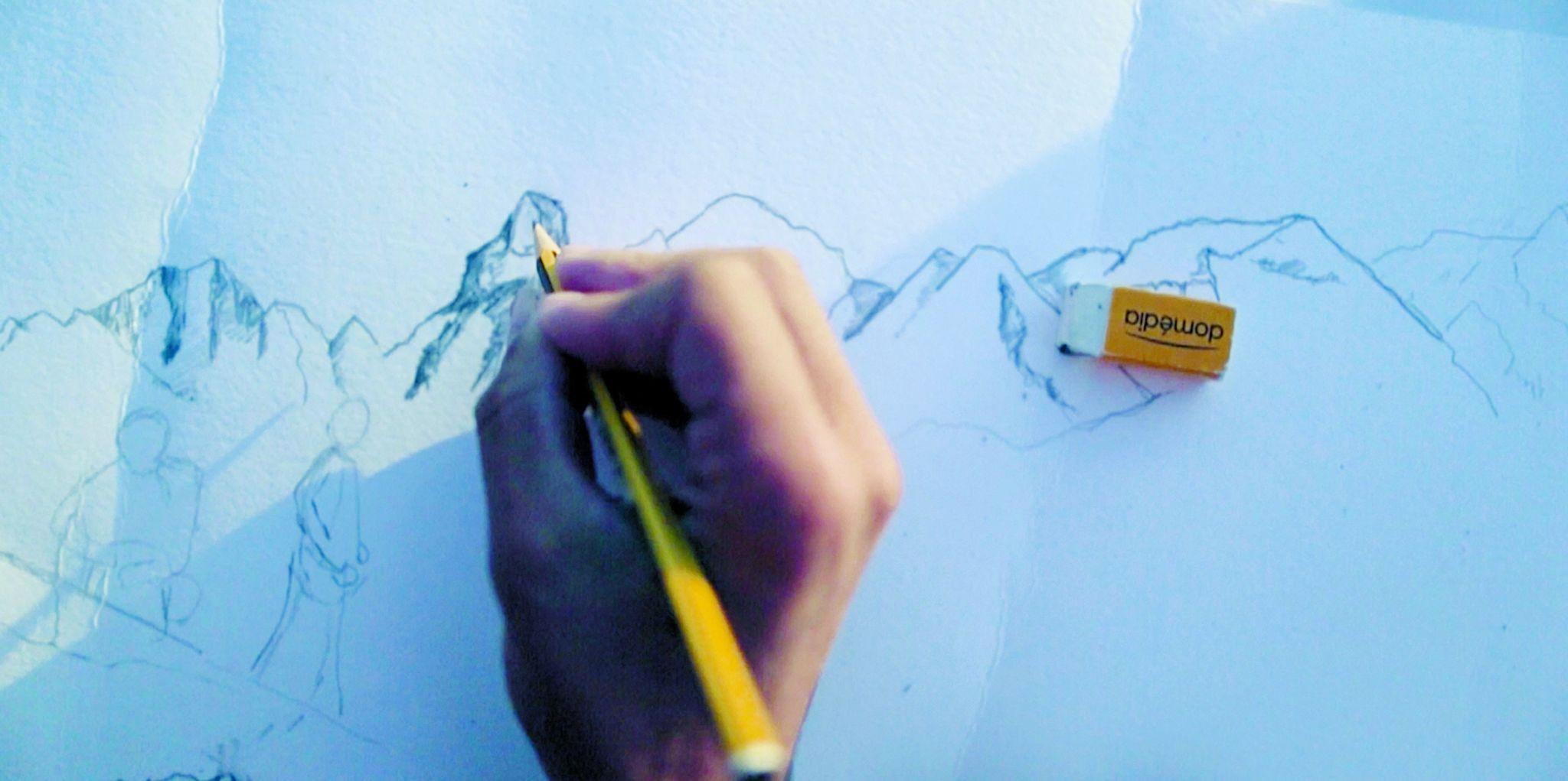 Kilian Jornet dibuja el Mont Blanc.