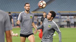 Mario Suárez y Rubén Castro en un entrenamiento.