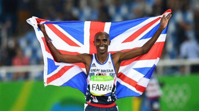 Mo Farah, tras ganar el oro en el 5.000 de los Juegos Olímpicos de...
