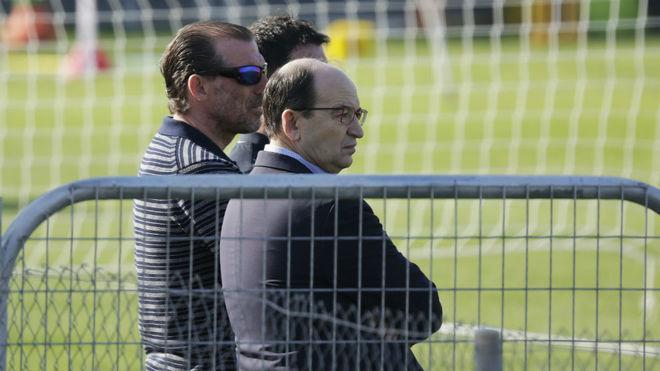 Óscar Arias y José Castro, en el entrenamiento de este martes.
