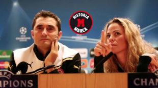 Ernesto Valverde y Marina Tsali en la etapa del extreme�o en...