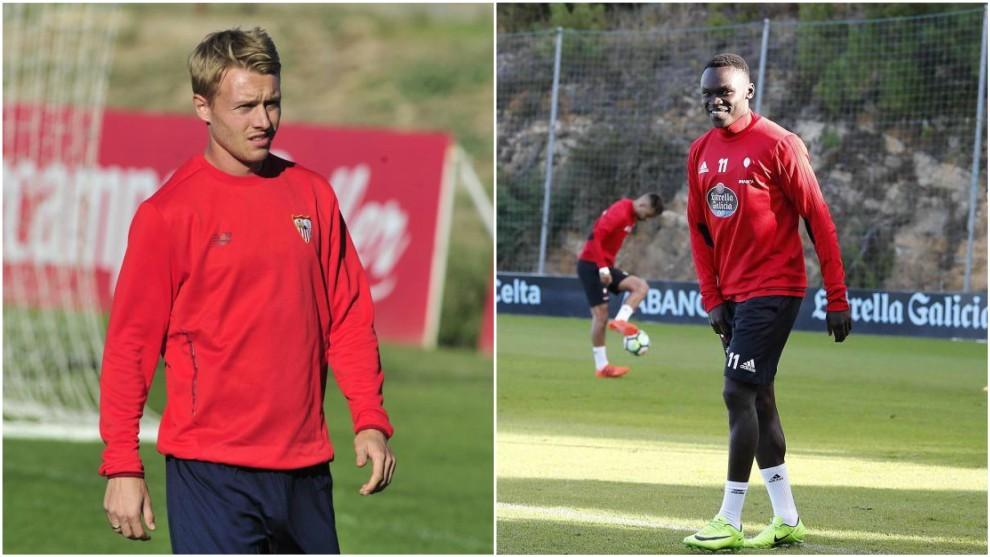 Simon Kjaer (28) y Pione Sisto (22), durante los entrenamientos de sus...