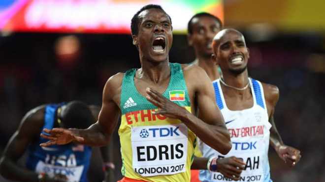 Muktar Edris vence a Farah en la final de los 5.000 metros del Mundial...