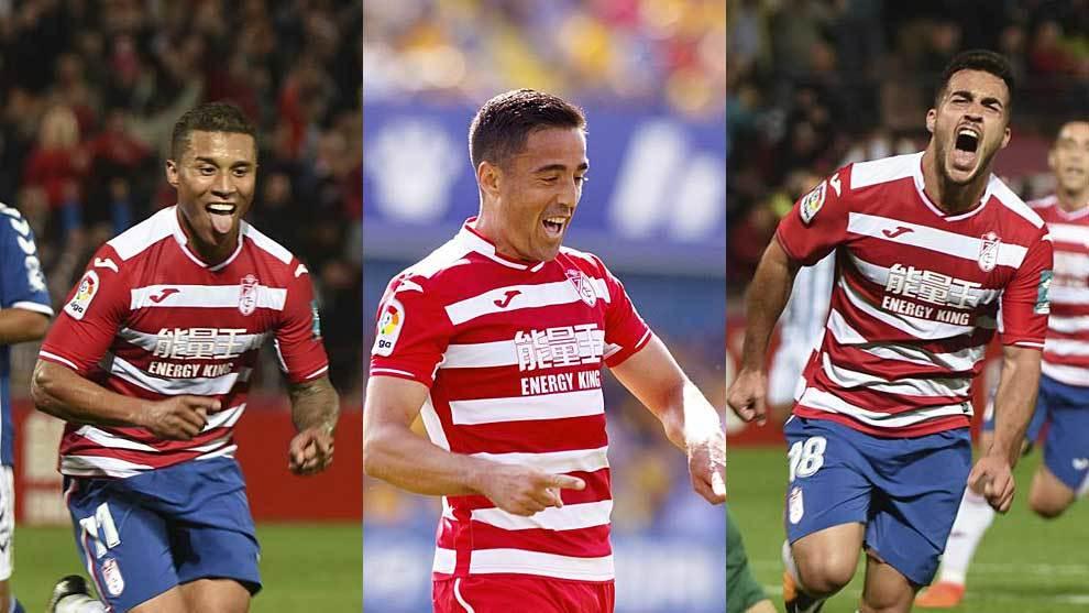 Machís, Pedro y Joselu celebran tres goles del Granada esta temporada