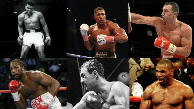 Ali, Joshua, W. Klitschko, Lewis, Marciano, Tyson.