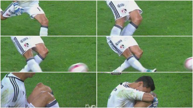 Secuencia de imágenes de televisión de la lesión de Ustari.