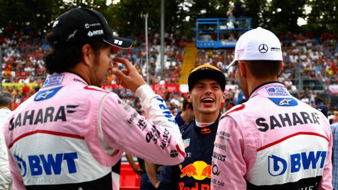 Cheoc y Ocon, con Verstappen en medio, en Monza