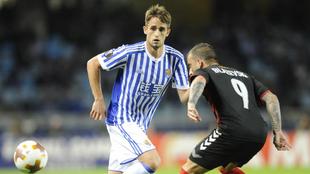Adnan Januzaj (22), en el partido entre la Real Sociedad y el Vardar...