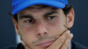 Rafa Nadal, en la rueda de prensa que anunci� su retirada del torneo...