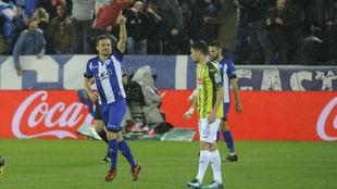 Santos celebra su gol contra el Espanyol.