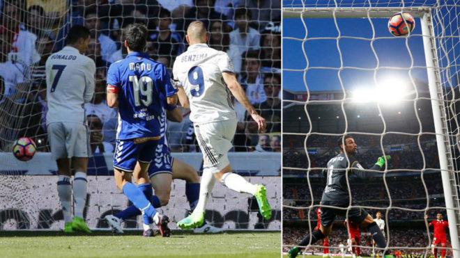 Imagen del último gol de Benzema y de Cristiano en el Santiago...