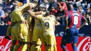 Celebración de los jugadores del Girona