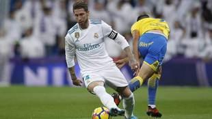 Sergio Ramos durante el partido ante Las Palmas