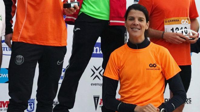 Ruth Beitia en la ceremonia de premiados en la II Carrera Go Fit...