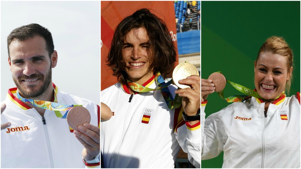 Craviotto, Chourraut y Valentín posan con las medallas ganadas en...