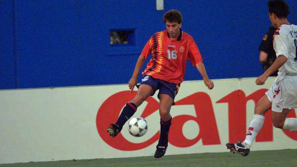 Felipe Miñambres, durante el partido ante Corea del Sur en el Mundial...