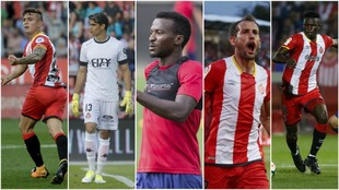 Maffeo (29), Bono (26), Kayode (24), Stuani (31) y Olunga (23)