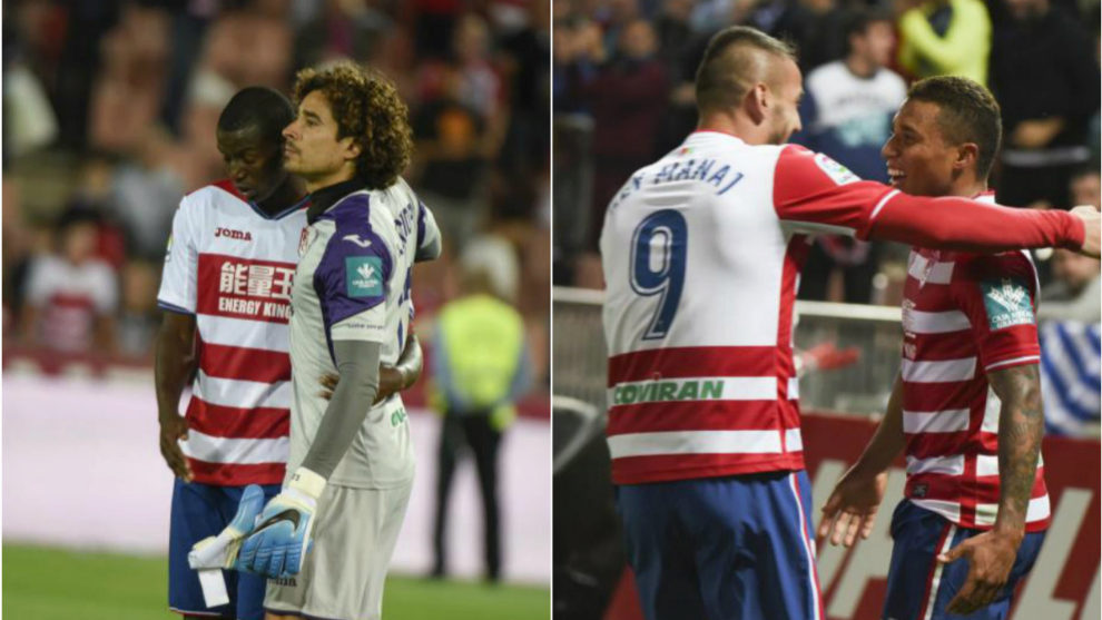 A la izquierda, Ochoa y Ramos, tras el descenso a Segunda. A la...