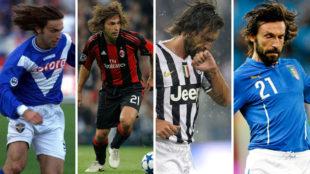 Andrea Pirlo, con las camisetas del Brescia, Milan, Juventus e Italia