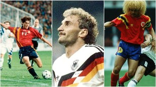 Las camisetas de España, Alemania y Colombia