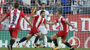Portu celebra un gol al Real Madrid en Montilivi