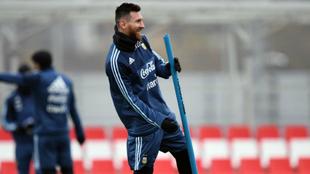 Messi, en el entrenamiento con la selección argentina en Rusia.