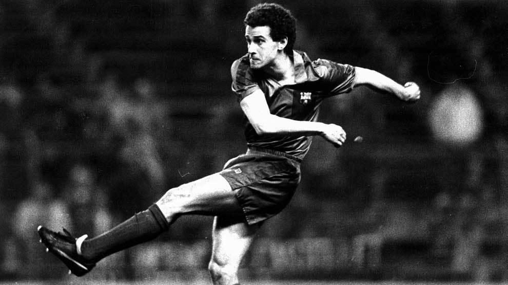 Julio Alberto jugando con el FC Barcelona en 1986