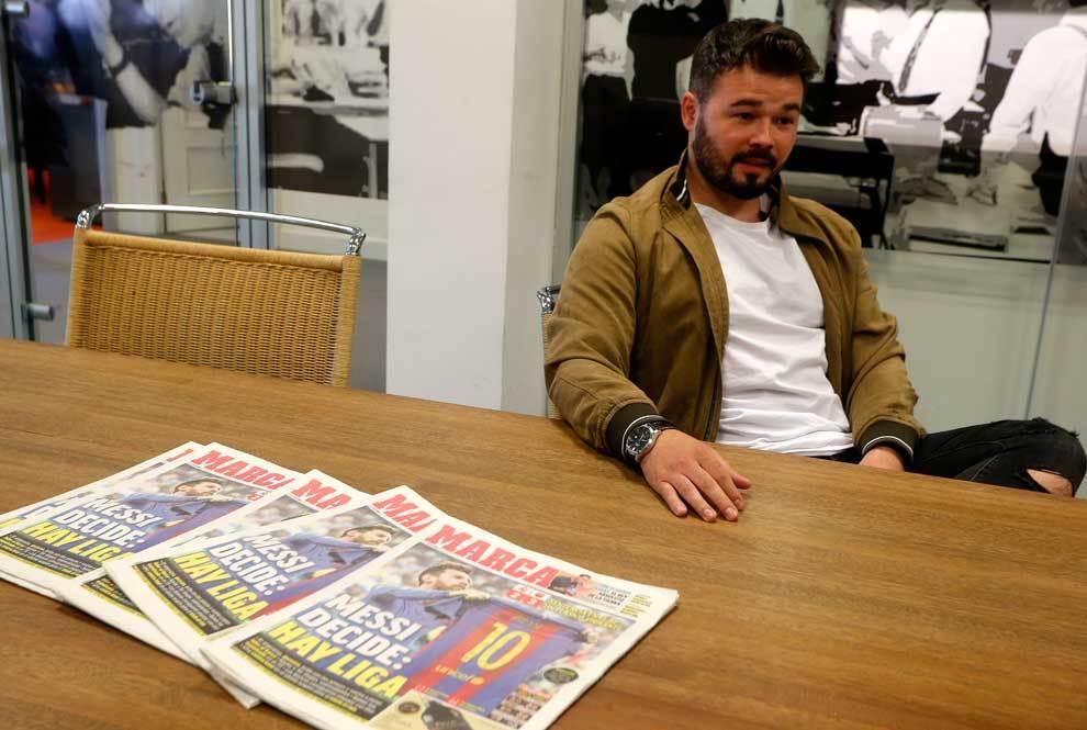Gabriel Rufián en la redacción del diario MARCA en Barcelona