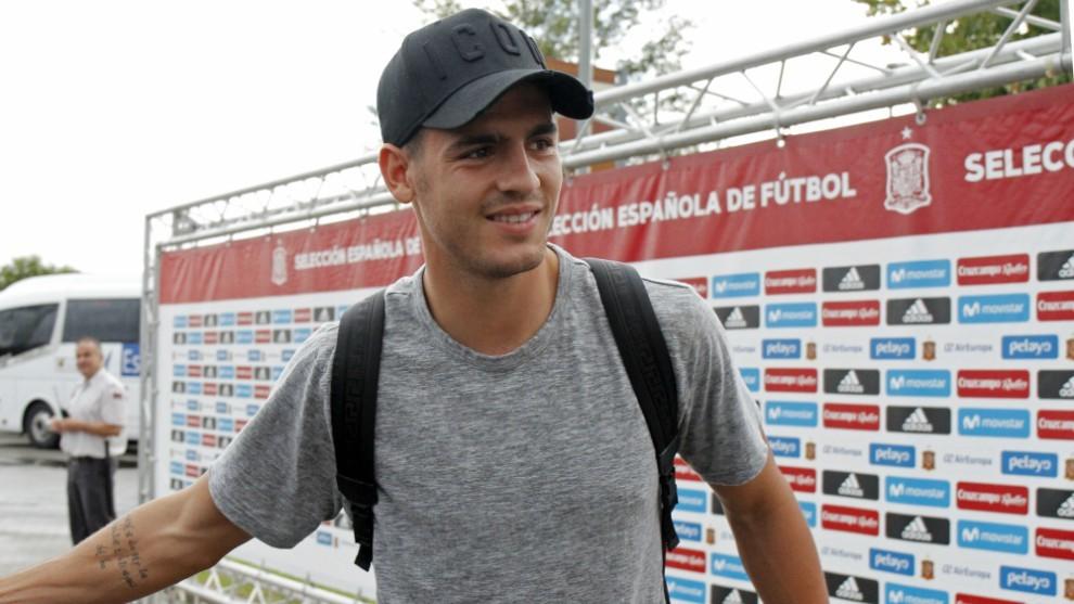 Morata, en la Ciudad Deportiva de Las Rozas