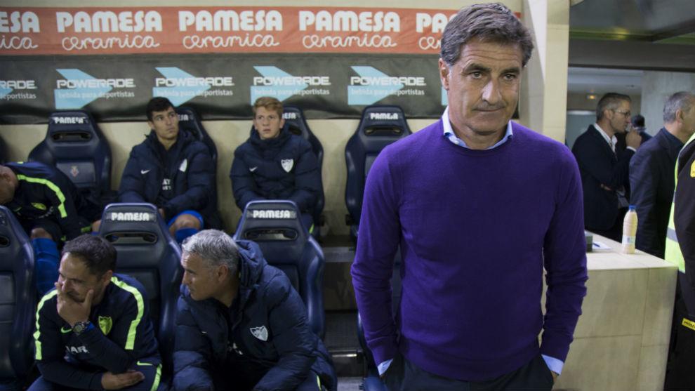 Michel en el estadio de la Cerámica en el partido ante el Villarreal