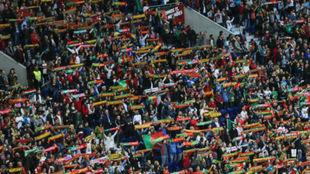 Aficionados de la selección de Portugal.