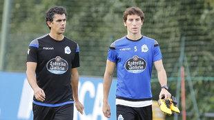 Pedro Mosquera, en un entrenamiento del Deportivo de la Coruña.