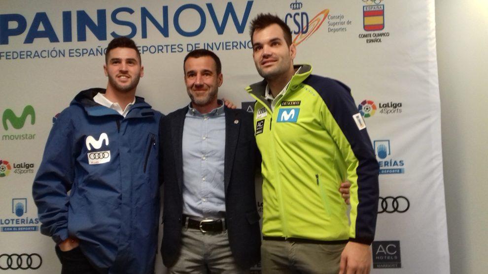 May Peus, junto a Lucas Eguibar y Quim Salarich, en la presentación...