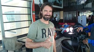 Sergo Pachón a su llegada a Querétaro para el Partido por la Paz.