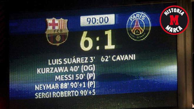El 6-1 final de la vuelta de octavos entre Barça y PSG jugado en el...