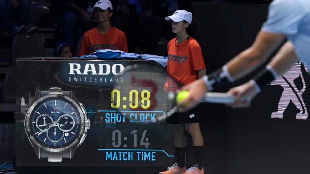 Reloj que marca el tiempo entre puntos instalado en el 'Masters Joven'...