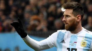 Messi, en el partido de Argentina ante Rusia