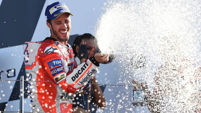 Dovizioso celebrates first place after the MotoGP race of the British...