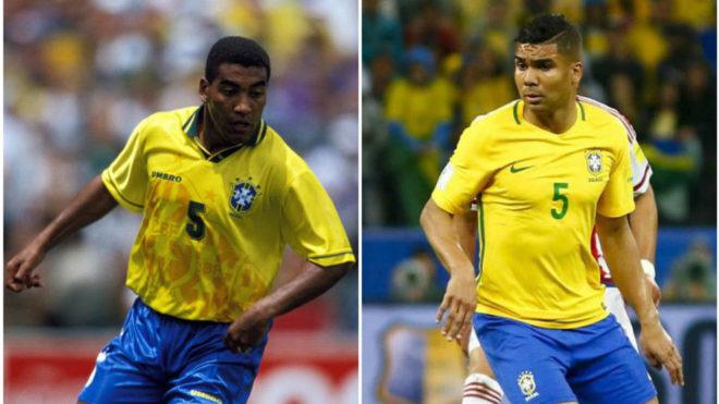 Mauro Silva y Casemiro, con la selección brasileña.