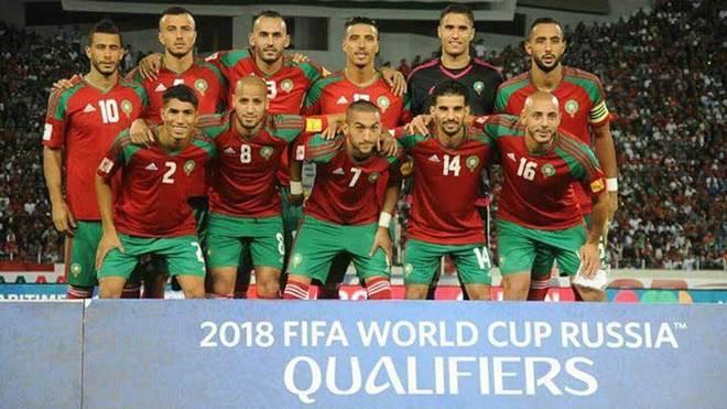 Los jugadores de Marruecos posan antes de un partido.